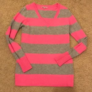 Pink and Grey Striped Long Sleeved Gap Sweater